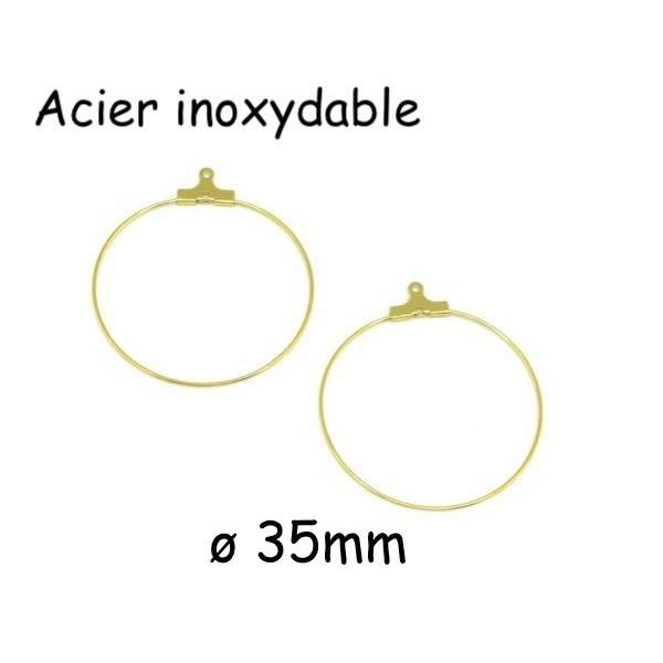 4 Supports Boucles D'oreilles Créole Doré En Acier Inoxydable 35mm - Photo n°1