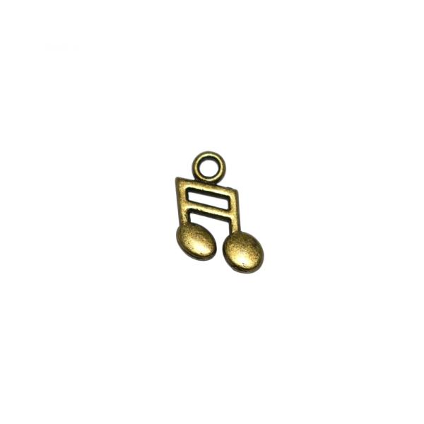 Breloque note de musique 19x13mm (réversible) métal bronze - Photo n°1
