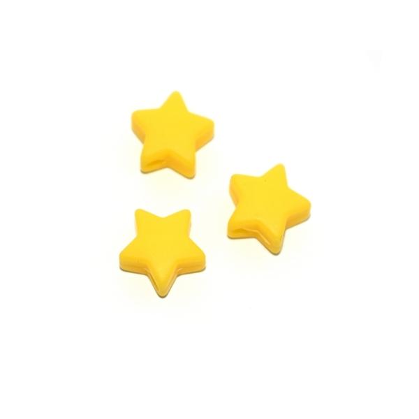 Perle silicone étoile 10x20 mm jaune soleil - Photo n°1