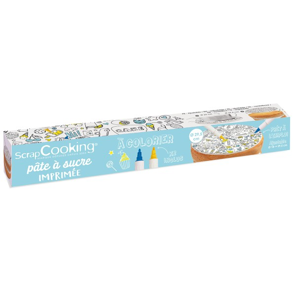 Rouleau pâte à sucre à colorier - Émoticônes - de 18 à 29,5 cm de diamètre - Photo n°1