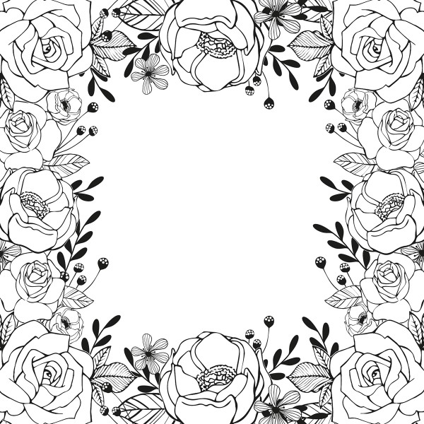 Tampon Doodler - Roses - Cadre 13,5 x 13,5 cm - Photo n°2