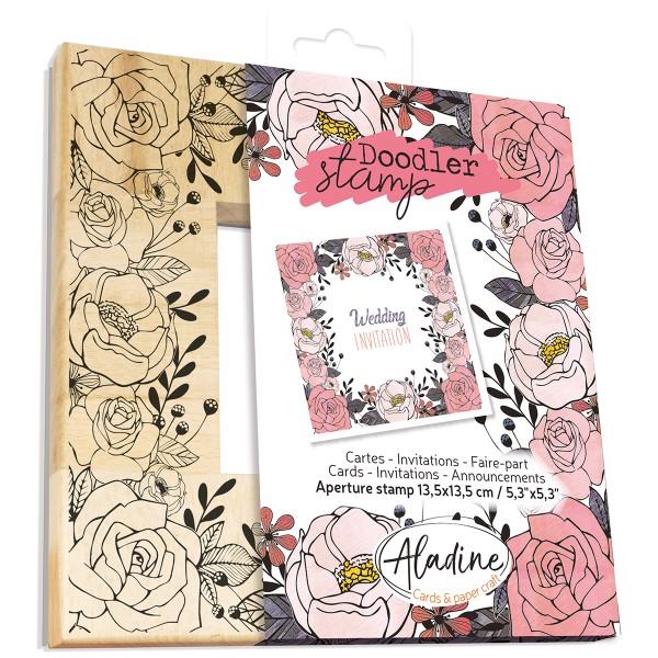 Tampon Doodler - Roses - Cadre 13,5 x 13,5 cm - Photo n°1