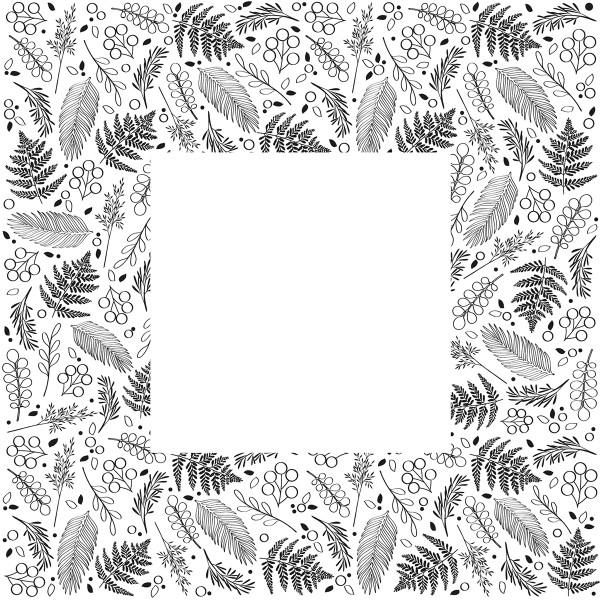 Tampon Doodler - Feuillage et Fougères - Cadre 13,5 x 13,5 cm - Photo n°2