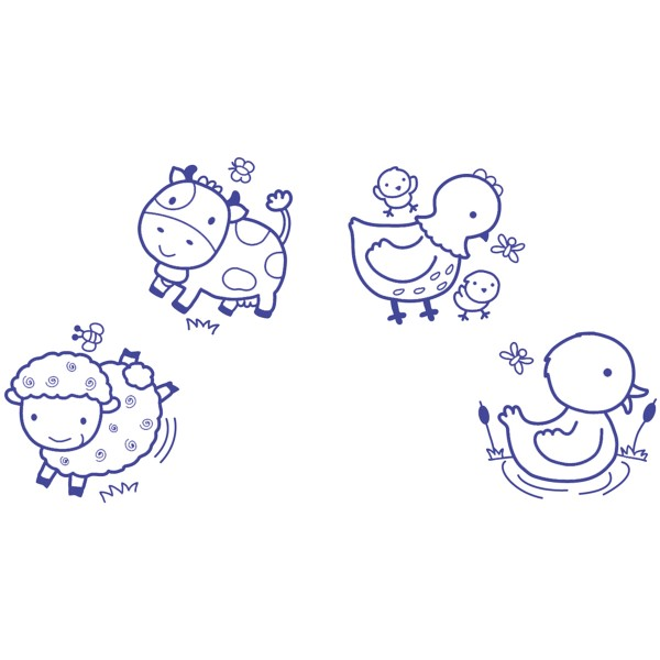 Kit Stampo Baby Eco Friendly - Animaux de la ferme - 4 pcs - Photo n°2