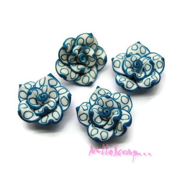 Cabochons fleurs fimo bleu - 4 pièces - Photo n°1