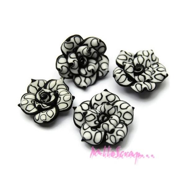 Cabochons fleurs fimo noir - 4 pièces - Photo n°1