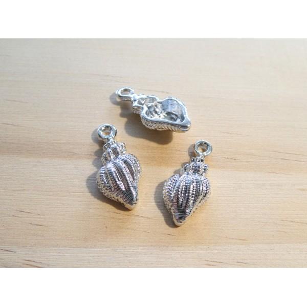 4 Breloques escargot de mer, coquillage 19*9mm argent platine - Photo n°1