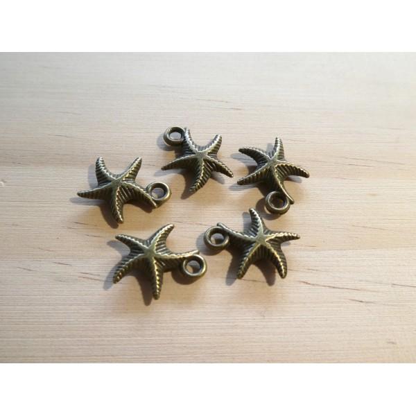 6 Breloques étoile de mer 17*14mm couleur bronze - Photo n°1