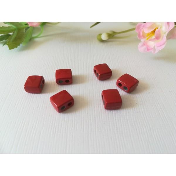 Connecteur 2 trous 9 x 8 mm émail rouge x 2 - Photo n°1