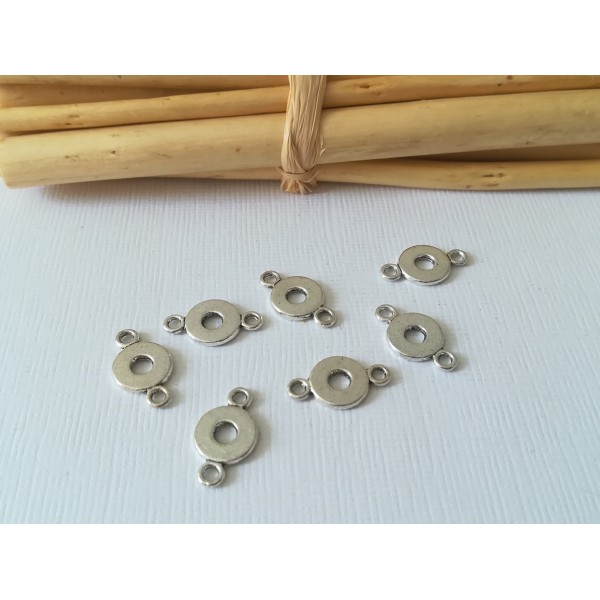 Connecteurs rond argenté 16 mm x 10 - Photo n°1