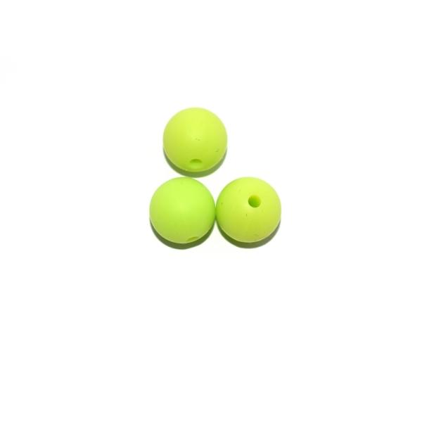 Perle ronde 12 mm en silicone vert pomme - Photo n°1