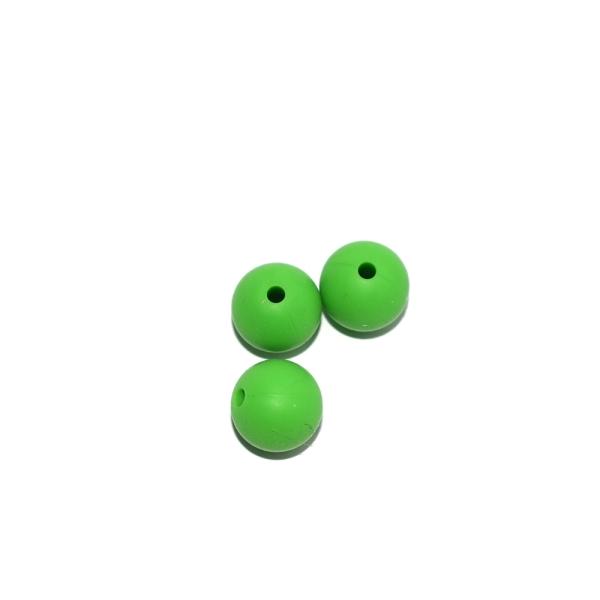 Perle ronde 12 mm en silicone vert prairie - Photo n°1