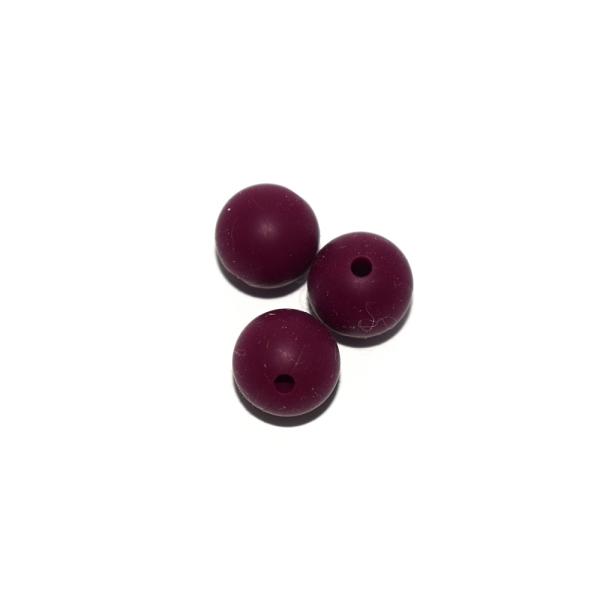 Perle ronde 12 mm en silicone bordeaux - Photo n°1