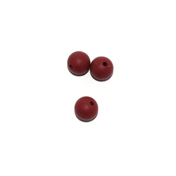 Perle ronde 12 mm en silicone rouge sienne - Photo n°1
