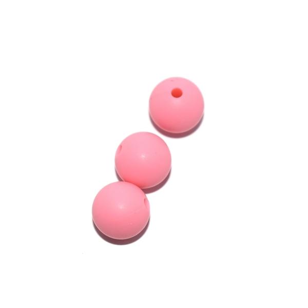 Perle ronde 12 mm en silicone rose - Photo n°1