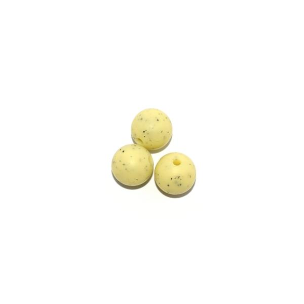Perle ronde 12 mm silicone granite jaune - Photo n°1