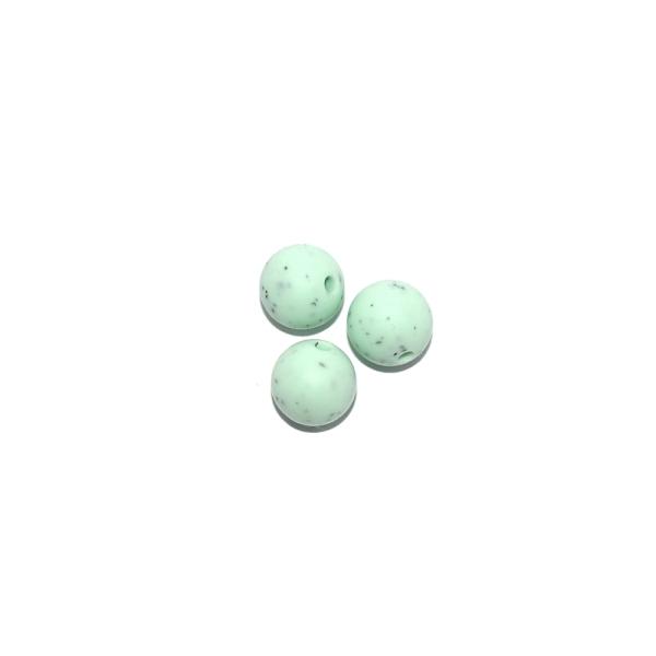 Perle ronde 12 mm silicone granite vert - Photo n°1