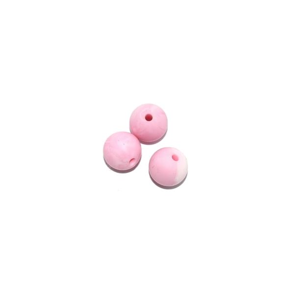 Perle ronde 12 mm silicone blanc marbre rose clair - Photo n°1