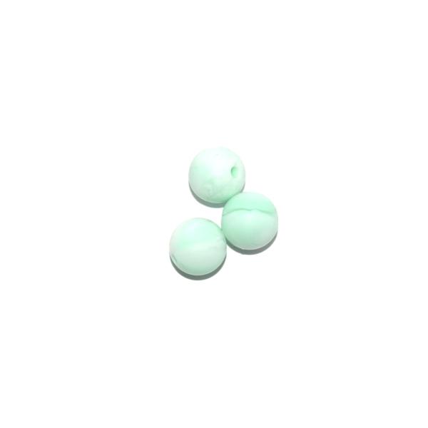Perle ronde 12 mm silicone blanc marbre vert - Photo n°1