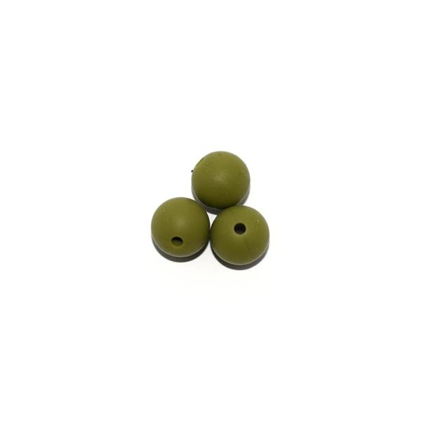 Perle ronde 12 mm en silicone vert olive - Photo n°1