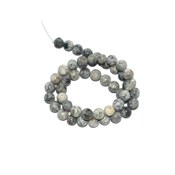Perle agate naturelle gris menthe mat 8 mm X10 - Photo n°1