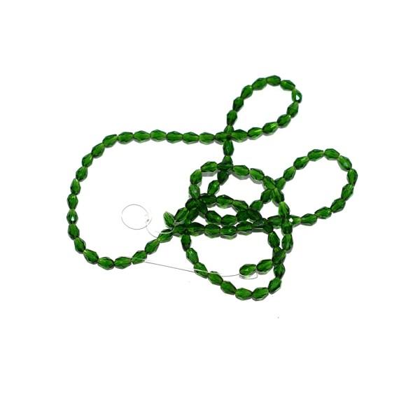 Perle facette ovale verre 7x3 mm vert transparent x10 - Photo n°1