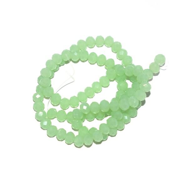 Perle à facettes rondes aplaties 4x6 mm vert d'eau x10 - Photo n°1