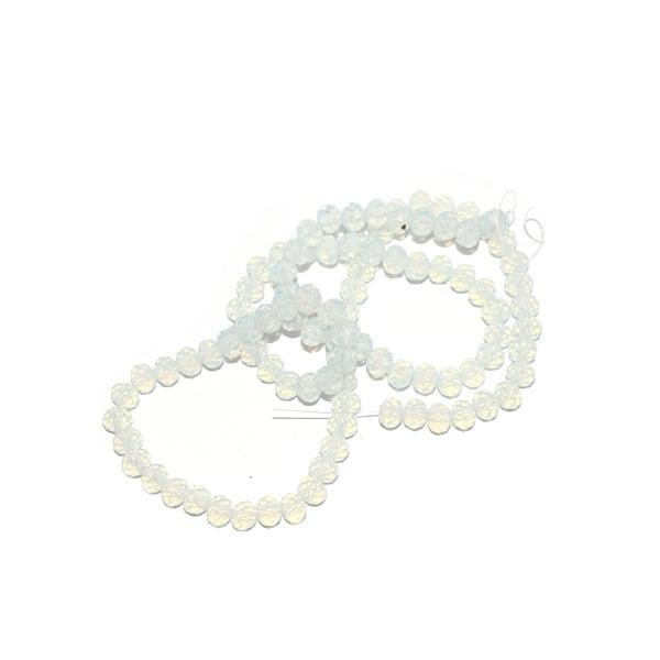 Perle à facettes rondes aplaties 4x6 mm blanc opal transparent x10 - Photo n°1
