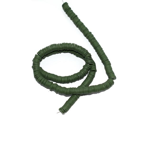 Perle rondelle heishi polymère vert kaki x380 - Photo n°1
