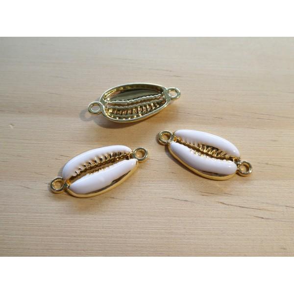 2 Connecteurs cauri, coquillage 26*12mm doré et émail blanc - Photo n°1