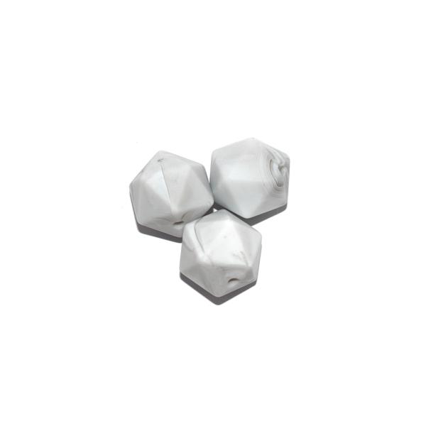 Perle hexagonale 14 mm en silicone blanc marbré - Photo n°1
