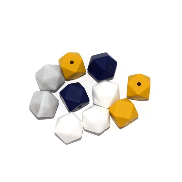 Perle hexagonale 14 mm silicone camaïeu bleu - moutarde x10 - Photo n°1