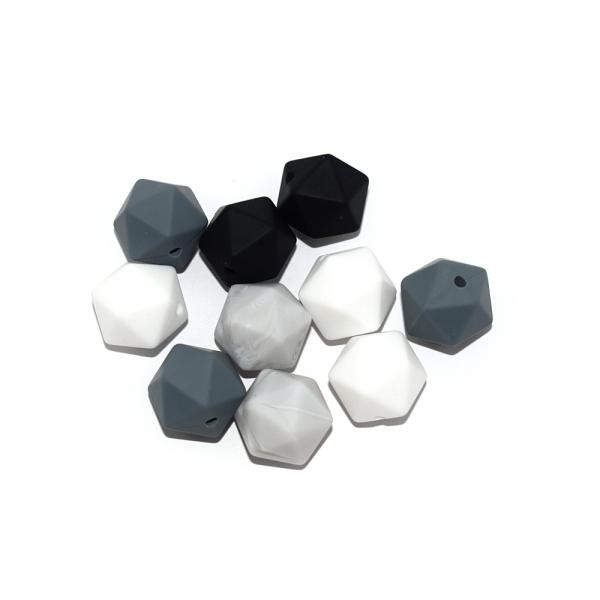 Perle hexagonale 14 mm silicone camaïeu gris-noir x10 - Photo n°1