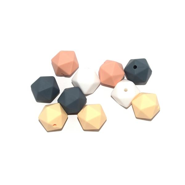 Perle hexagonale 14 mm silicone camaïeu peachy x10 - Photo n°1