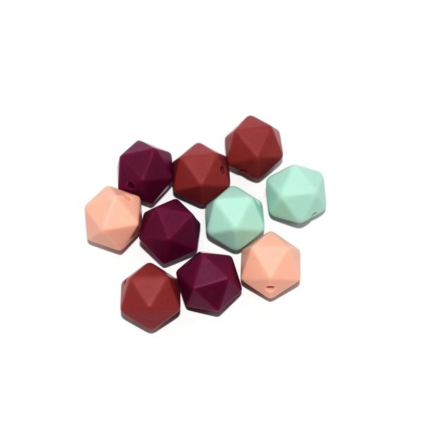 Perle hexagonale 14 mm silicone camaïeu rouge - menthe x10 - Photo n°1