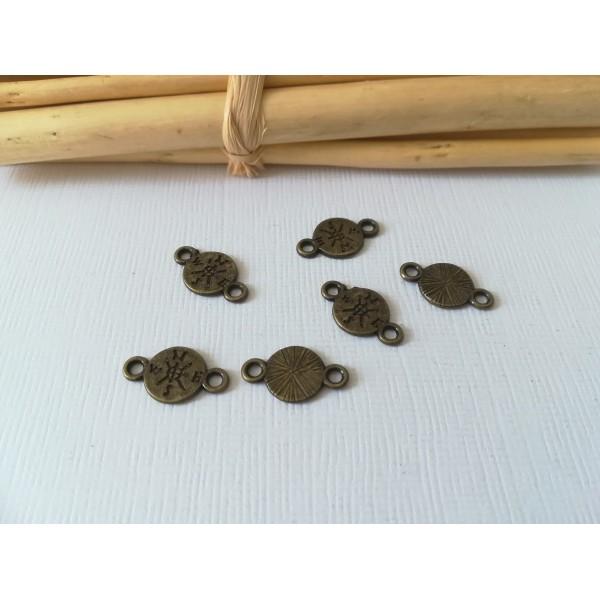 Connecteurs rond double face 16 mm bronze x 10 - Photo n°1