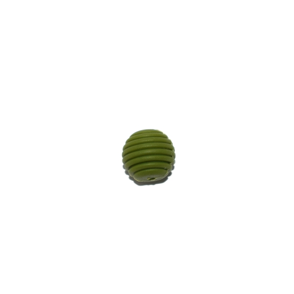 Perle silicone spirale 15 mm vert olive - Photo n°1