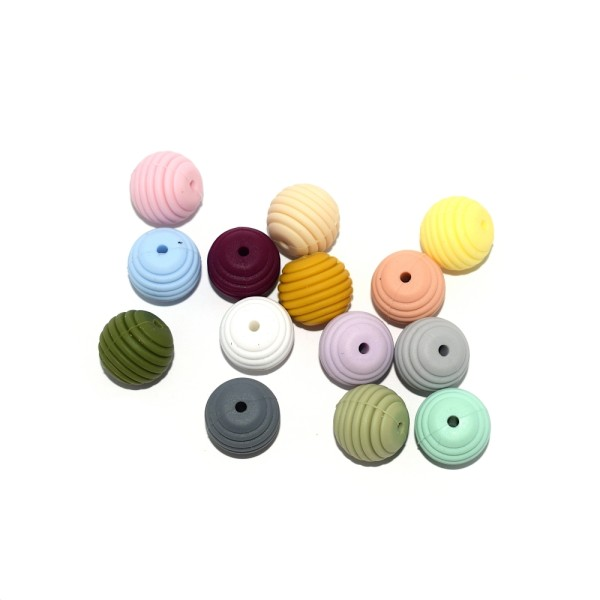 Perle silicone spirale 15 mm vert olive clair - Photo n°2