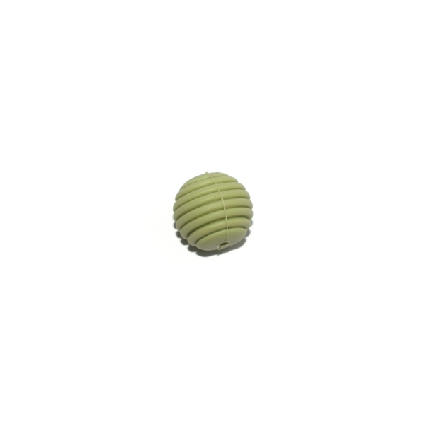 Perle silicone spirale 15 mm vert olive clair - Photo n°1