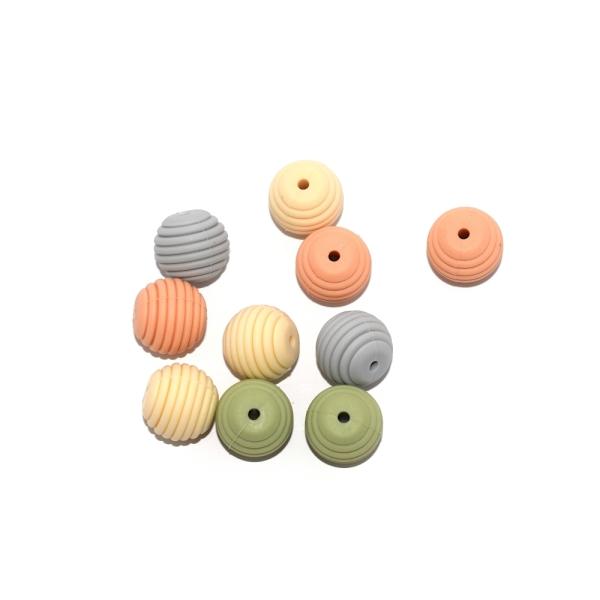 Perle silicone spirale 15 mm camaïeu peachy x10 - Photo n°1
