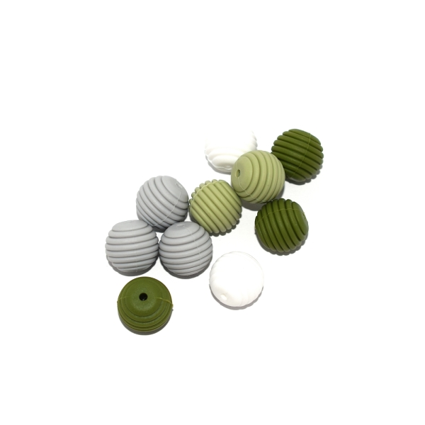 Perle silicone spirale 15 mm camaïeu vert x10 - Photo n°1