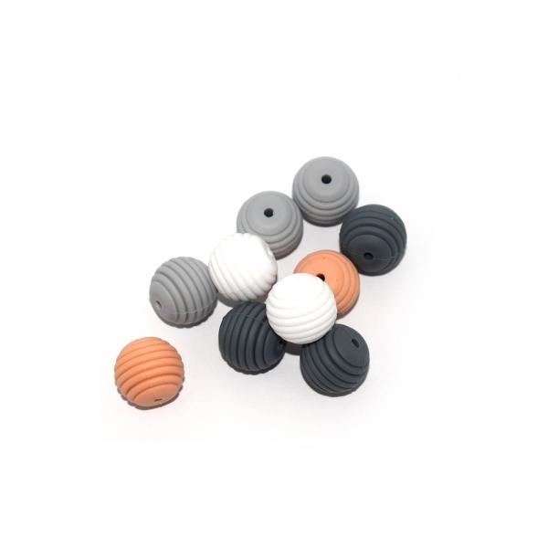 Perle silicone spirale 15 mm camaïeu gris biege x10 - Photo n°1