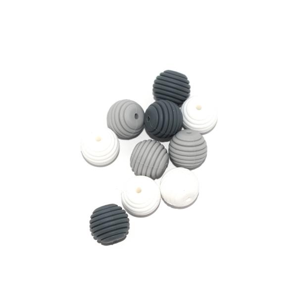 Perle silicone spirale 15 mm camaïeu gris x10 - Photo n°1
