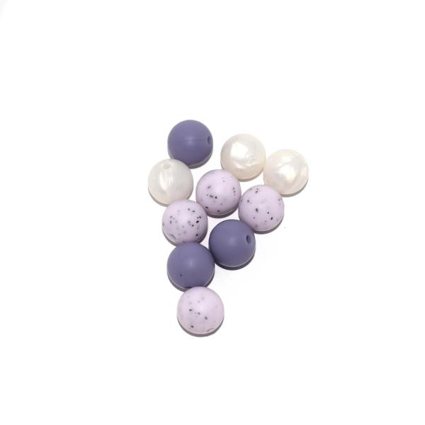 Perle silicone 12 mm camaïeu violet x10 - Photo n°1