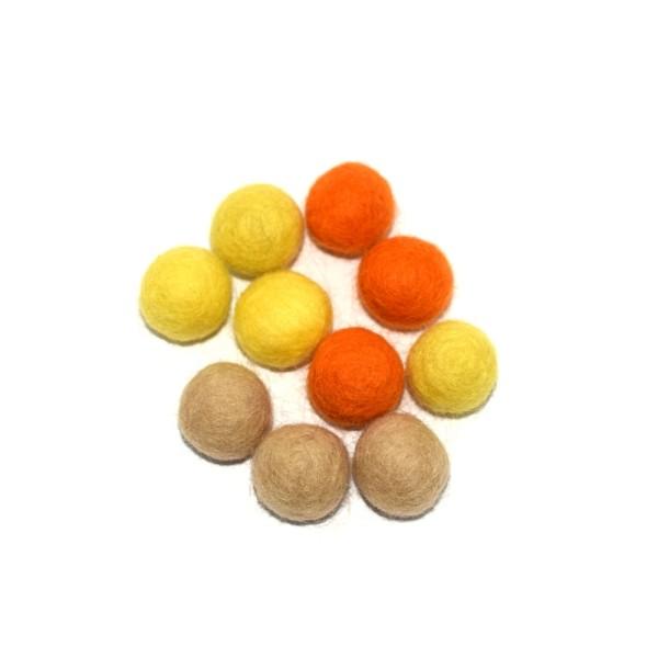 Boule en laine feutrée 20 mm camaïeu orange x10 - Photo n°1