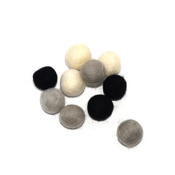 Boule en laine feutrée 20 mm camaïeu gris x10 - Photo n°1
