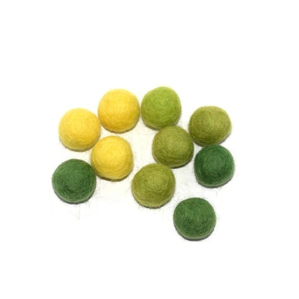 Boule en laine feutrée 20 mm camaïeu vert x10 - Photo n°1
