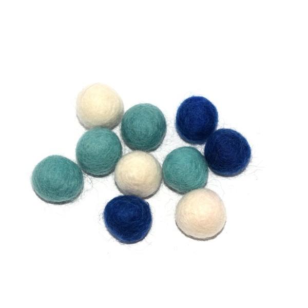 Boule en laine feutrée 20 mm camaïeu bleu x10 - Photo n°1