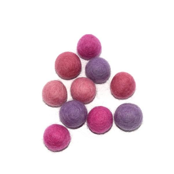 Boule en laine feutrée 20 mm camaïeu violet x10 - Photo n°1