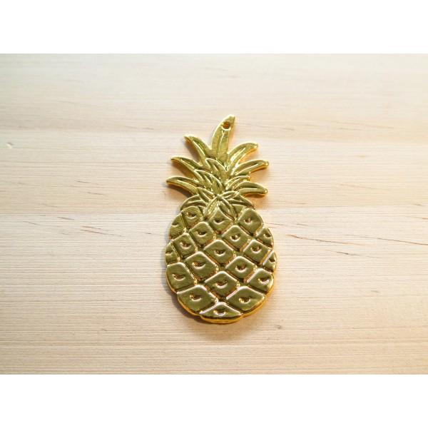 2 Pendentifs ananas 42*20mm doré - Photo n°1